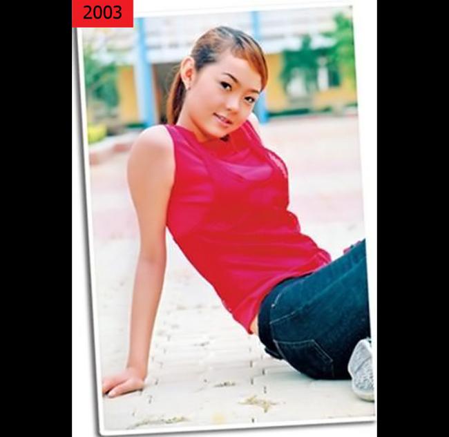 Minh Hằng năm 2003, khi mới bước chân vào con đường nghệ thuật. Cô tham gia vào  ban nhạc Pha Lê. Tuy đã có những nét đẹp trên khuôn mặt, Minh Hằng vẫn chưa tạo  dựng được phong cách cho mình.