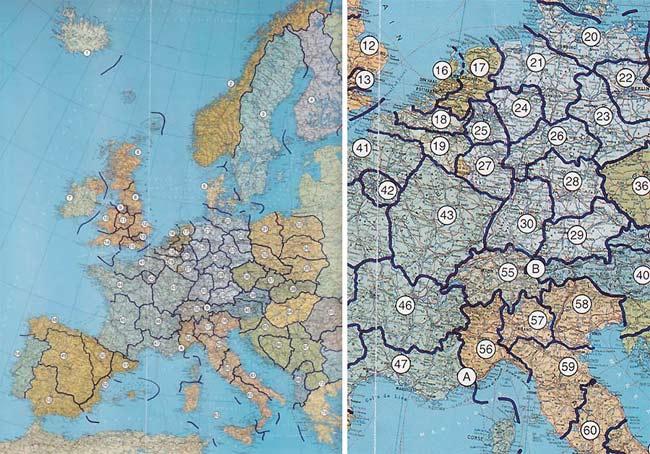 Bản đồ châu Âu hấp dẫn này do Freddy Heineken, ông trùm bia Hà Lan thiết kể. Nó bao gồm vùng lãnh thổ nhỏ, ít cân bằng hoặc nhiều sự bất bình đẳng hơn khi mỗi dân tộc đồng nhất có từ 5 - 10 triệu cư dân sinh sống.