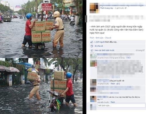 Xúc động bức ảnh CSGT lội nước giúp dân - 1