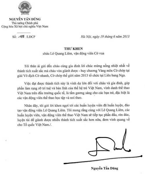 HOT: Thủ tướng Chính phủ gửi Thư khen Lê Quang Liêm - 1