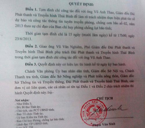 Đình chỉ công tác GĐ Đài PT-TH Thái Bình - 1