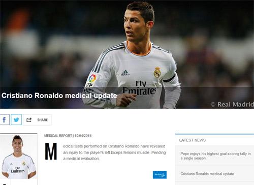 Chấn thương cơ, Ronaldo lỡ CK cúp Nhà Vua - 1