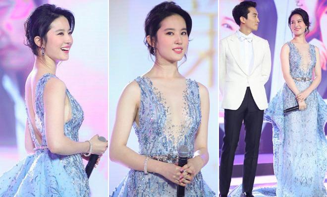 """Lưu Diệc Phi khoe """"gò bồng đảo"""" trắng nõn bên Song Seung Hun - 1"""