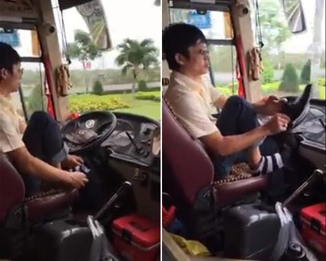 Clip: Tài xế xe khách bỏ vô lăng để... đi tất, xỏ giày - 1