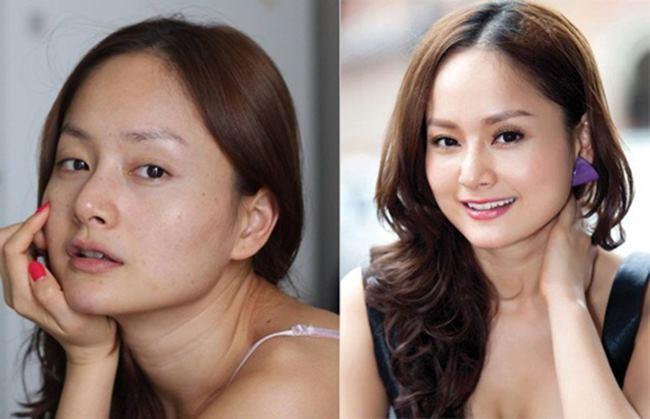 Diễn viên Lan Phương trônghiền lành khi để mặt mộc, tuy nhiên làn da của mỹ nữ có những vết tàn nhang.