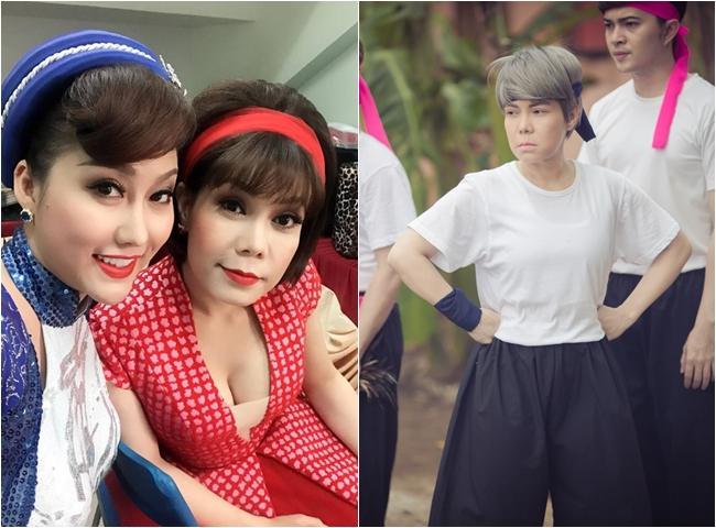 """Người cùng cảnh ngộ với Minh Hằng là danh hài Việt Hương. Vì đảm nhận vai đồng tính nữ trong """"Xóm trọ 3D"""" nên cô phải dùng thủ thuật bó ngực trong suốt 20 ngày."""