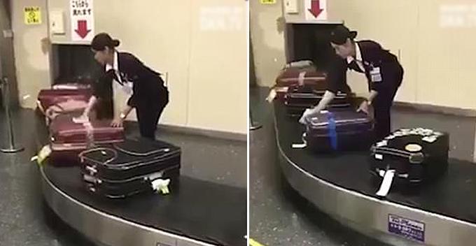 Nữ nhân viên sân bay lau từng chiếc vali của khách gây sốt - 1
