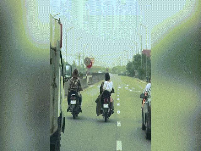 Nhóm thanh niên dàn hàng ngangđể rước dâu trên quốc lộ, gây bức xúc