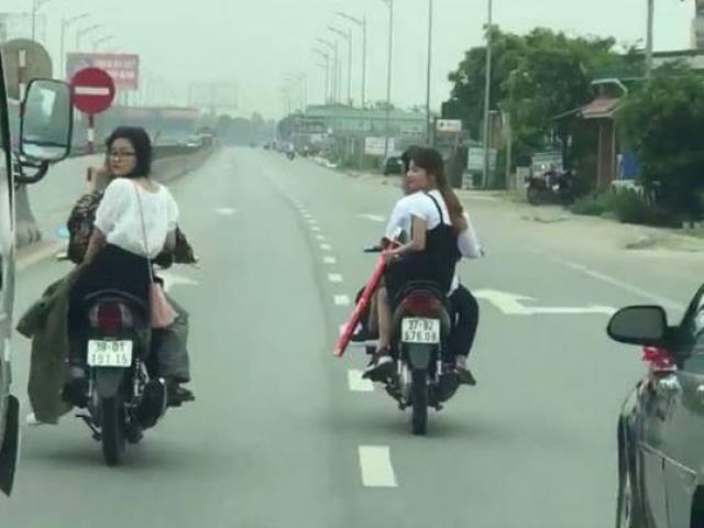 Lộ mặt nhóm thanh niên dàn hàng ngang để rước dâu trên quốc lộ