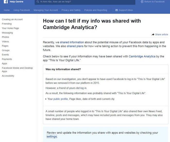 Hướng dẫn kiểm tra thông tin cá nhân trên Facebook bị phát tán trong vụ Cambridge Analytica - 1