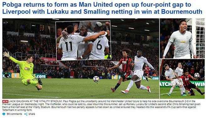 """MU vượt khó hạ Bournemouth: Báo Anh tin """"Quỷ đỏ"""" á quân, đe dọa Tottenham - 1"""
