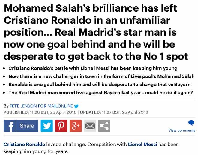 Liverpool đại thắng Roma: Báo chí dự đoán Salah phế ngôi Ronaldo - 1