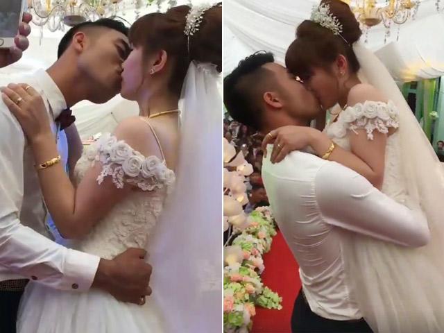 Cô dâu chú rể hôn nhau cuồng nhiệt suốt 3 phút gây tranh cãi