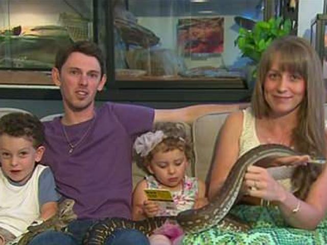 Gia đình sống cùng trăn, rùa và nhện khổng lồ trong nhà