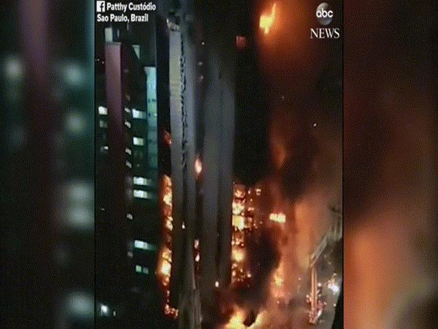Khoảnh khắc biển lửa kéo đổ sập tòa nhà 26 tầng ở Brazil