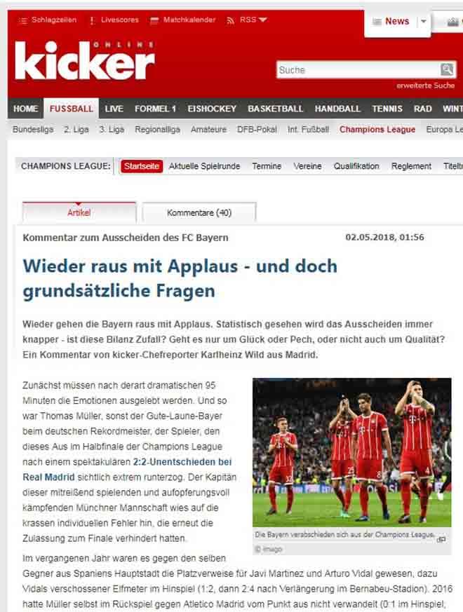 Real vào chung kết cúp C1: Báo chí Đức ca ngợi Bayern, tiếc vì thiếu may mắn - 1