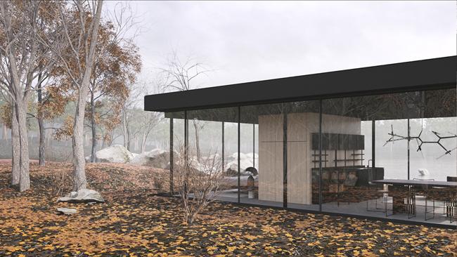 Khi ở trên mặt đất, thiết kế tường bằng kính trong suốt sẽ đón trọn ánh nắng vào nhà.