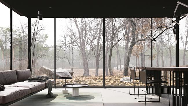Một góc phòng khách với bộ sô pha êm ái và một bàn trà mini.