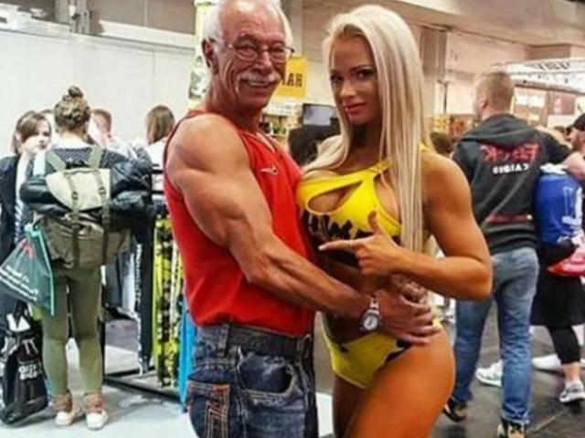 """Sững sờ: Cơ bắp siêu khủng, nam VĐV thể hình U80 """"chiếm hữu"""" nàng 20"""