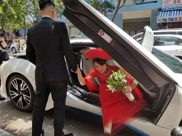 Diệp Lâm Anh được chú rể đón bằng siêu xe tốc độ