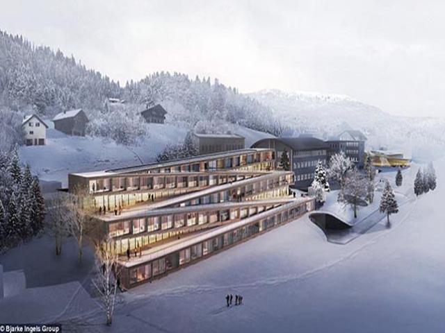 """Choáng với khách sạn """"chơi sang"""", đem cả khu trượt tuyết lên mái nhà"""