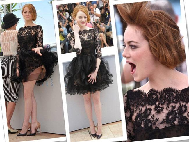 Cô nàng hoảng hồn khi bộ váy Elie Saab bất chợt bị cuốn tung bay.