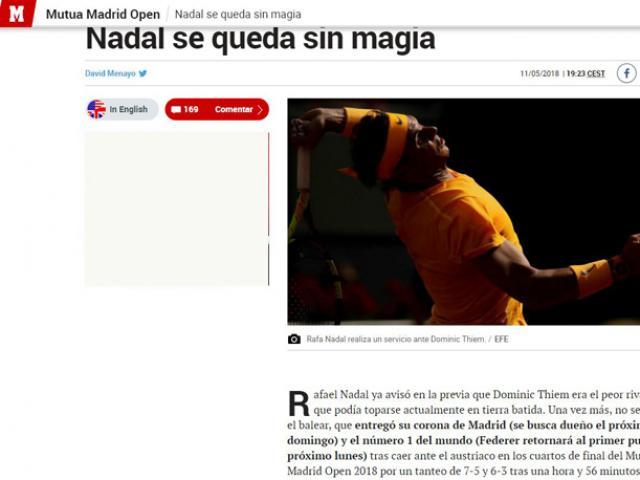 """Nadal mất 2 """"ngai vàng"""": Báo chí TBN chua chát, chê Nhà Vua """"hết phép"""""""
