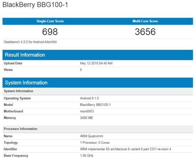 BlackBerry KEY Lite lộ điểm hiệu năng quá thấp - 1