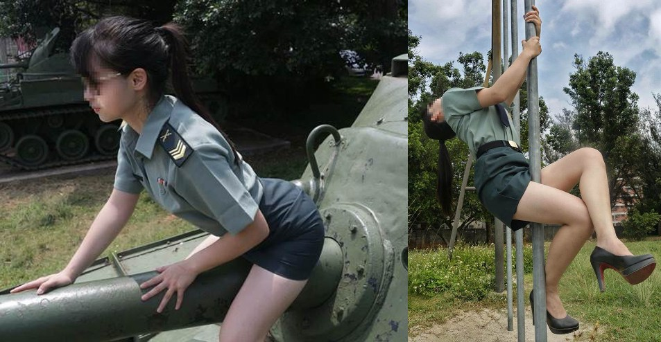 """Mặc quân phục ưỡn ẹo chụp ảnh, cô gái Đài Loan bị """"sờ gáy"""" - 1"""