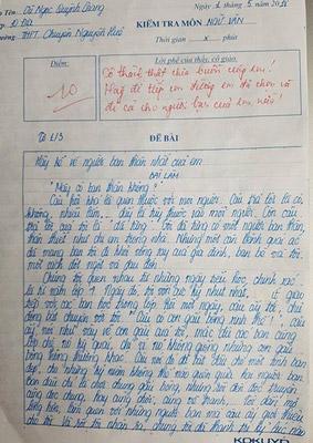 Bài văn đạt điểm 10 của học sinh trường THPT Chuyên Nguyễn Huệ gây sốt mạng xã hội - 1