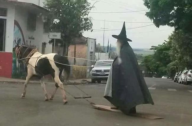 Là phù thủy nên cách di chuyển cũng khác lạ.