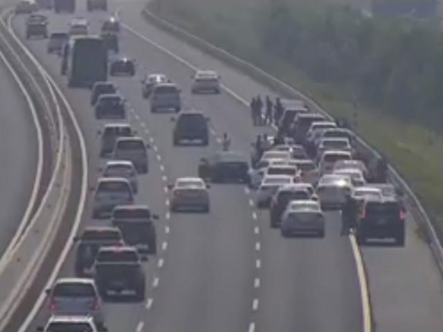 """Đoàn ô tô rước dâu bất thình lình dừng trên cao tốc... chụp ảnh """"tự sướng"""""""