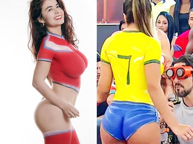 Loạt người đẹp chỉ mặc áo vẽ đi cổ vũ World Cup 2018
