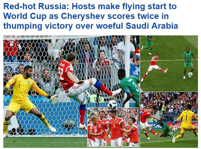"""Chủ nhà World Cup, Nga đá """"lên đồng"""": Báo chí thế giới ví là """"lốc đỏ"""" - 1"""