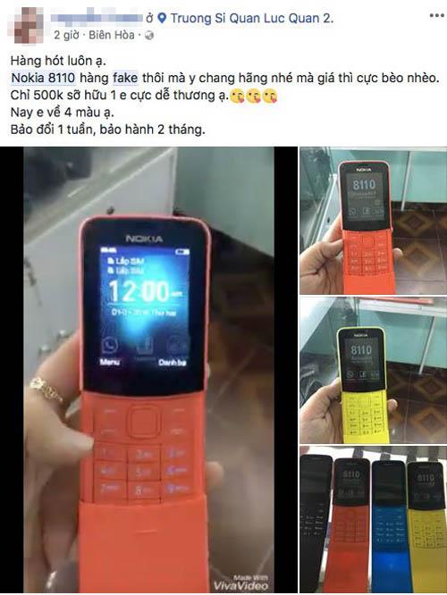 Nokia 8110 4G hàng giả tại Việt Nam, rẻ hơn nhiều, có thêm màu cam - 1