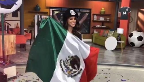 """""""Cô gái thời tiết"""" quyến rũ nhất thế giới ăn mừng Mexico thắng Đức - 1"""