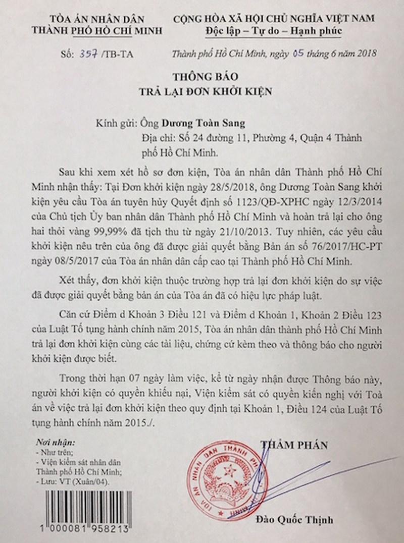 Vất vả đòi 2 thỏi vàng bị tịch thu từ UBND TP.HCM - 1