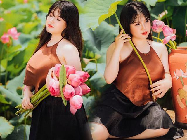 Cô gái sở hữu vòng một 110cm táo bạo diện yếm khoe sắc bên sen