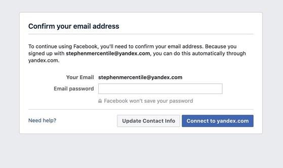 Facebook yêu cầu người dùng nhập mật khẩu email để làm gì? - 1