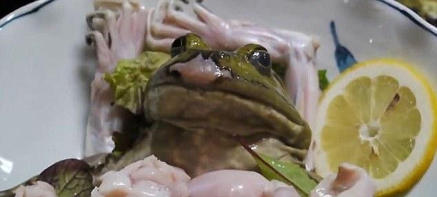 Món sashimi ếch sống lột da ngay trên đĩa của người Nhật khiến thực khách khiếp sợ - 1