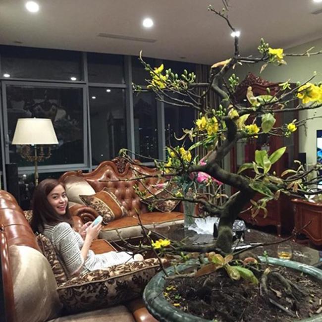 Thỉnh thoảng, cô mới khoe hình ảnh căn chung cư này trên mạng xã hội. Có thể thấy, nơi chốn đi về mỗi ngày của Hoàng Thùy Linh trông khá rộng, thiết kế đơn giản. Căn phòng khách có chứa bộ ghế sofa đắt đỏ. Cô cũng sử dụng cây hoa để trang trí thêm cho nơi đây thêm sắc hương rực rỡ.