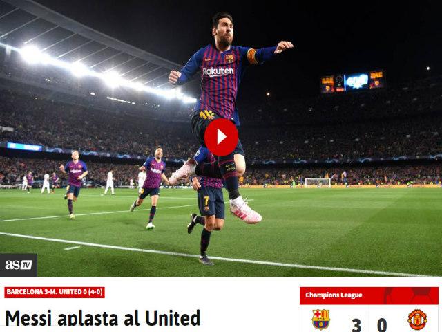 """Barcelona hạ MU: Báo chí Anh kinh ngạc """"ma thuật"""" Messi, chê tội đồ De Gea"""