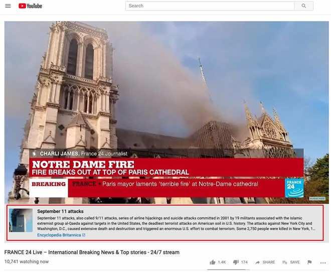 Người dùng choáng váng vì YouTube nhầm vụ cháy Nhà thờ Đức Bà Paris là khủng bố 11/9 - 1