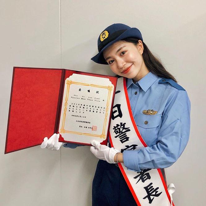 Nhan sắc hot girl Việt làm 'cảnh sát trưởng' ở Nhật Bản - 1
