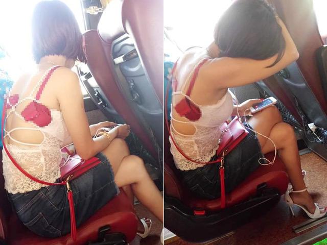 """Cô gái mặc hớ hênh trên xe khách khiến người xung quanh """"đỏ mặt"""""""