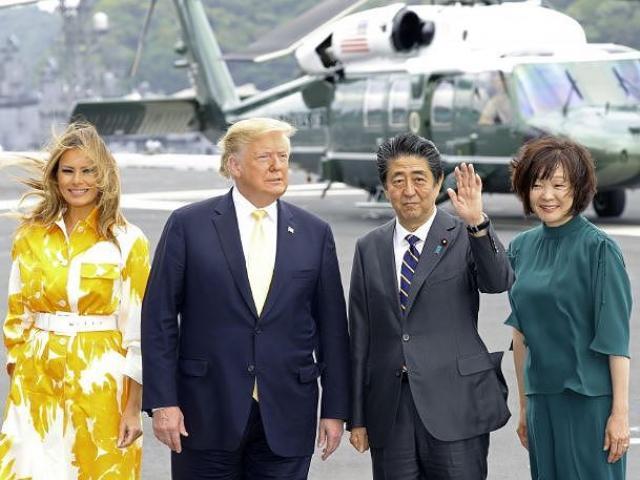 Ông Trump thăm chiến hạm lớn nhất của Nhật, người Trung Quốc 'sốt vó'