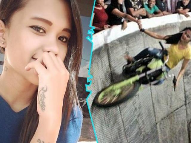 """Thiếu nữ xinh đẹp mạo hiểm lái mô tô bay trên """"bức tường tử thần"""""""