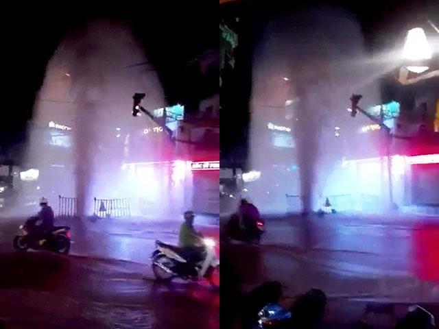 Nước phun thành cột cao như vòi rồng xuất hiện giữa đường phố Sài Gòn