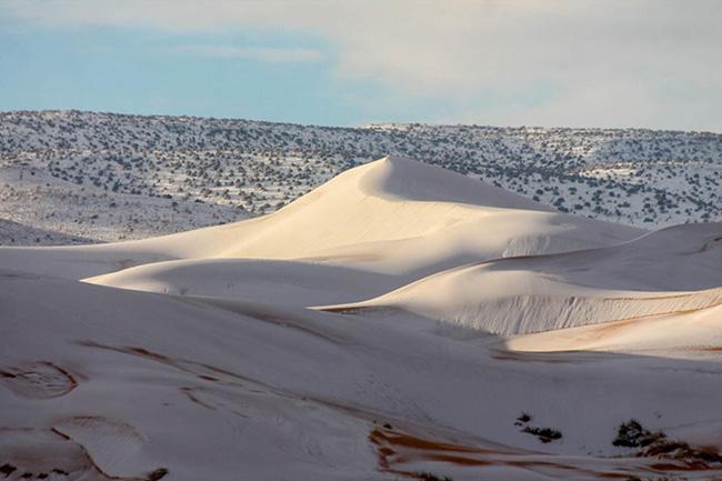 Giữa xa mạc nóng bóng lại có tuyết rơi và đóng thành băng. Thiên nhiên luôn khiến chúng ta ngạc nhiên bởi những điều kỳ quặc hiếm thấy.
