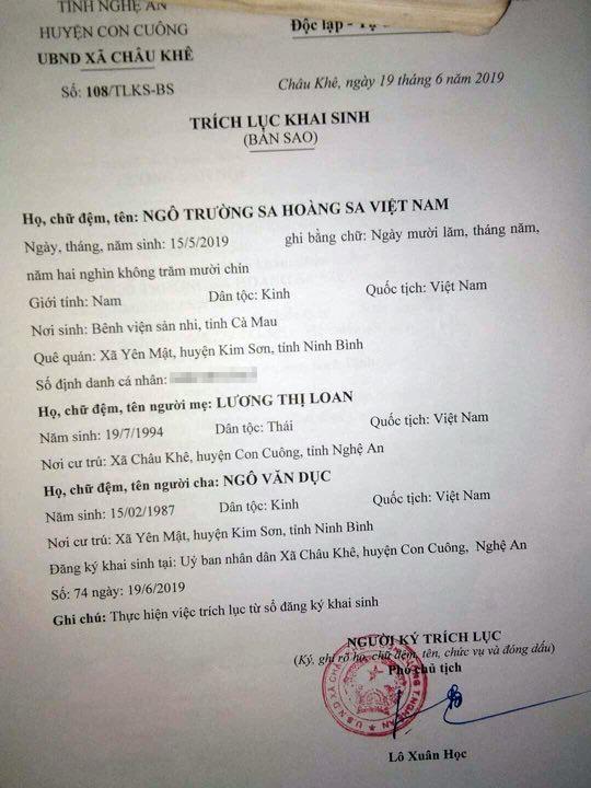 """Xôn xao cặp vợ chồng xứ Nghệ đặt tên con là """"Trường Sa Hoàng Sa Việt Nam"""" - 1"""